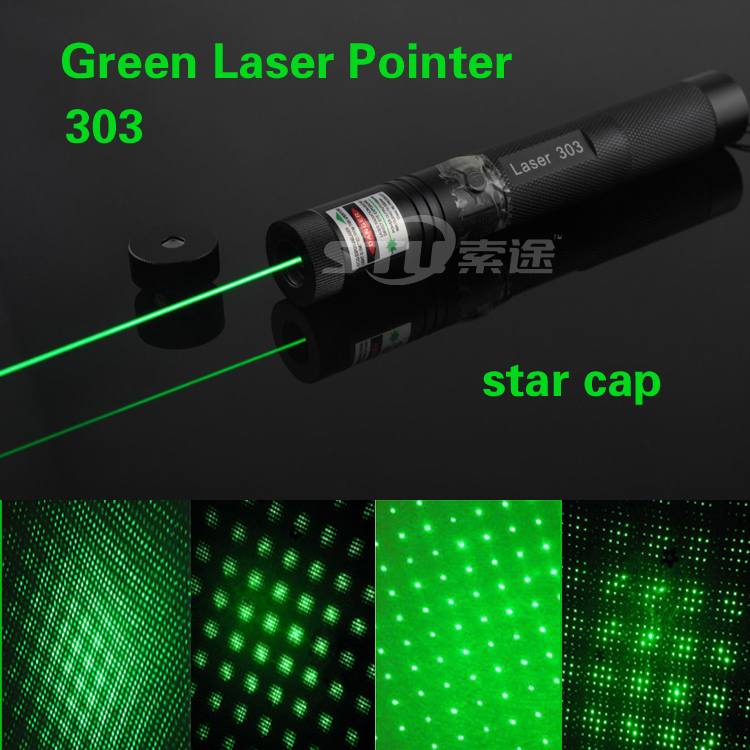 Hot !532nm Laser Pointer High Powered Adjustable Focus Burning Match Green Laser 303 Pointer Pen star cap with Safe Key for Sale(China (Mainland))