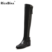 RizaBina Women Genuine Real Leather Knee Boots Winter Sexy High Heel Round Toe Zipper Buckle Shoes Size 34-39 - Shop217207 Store store