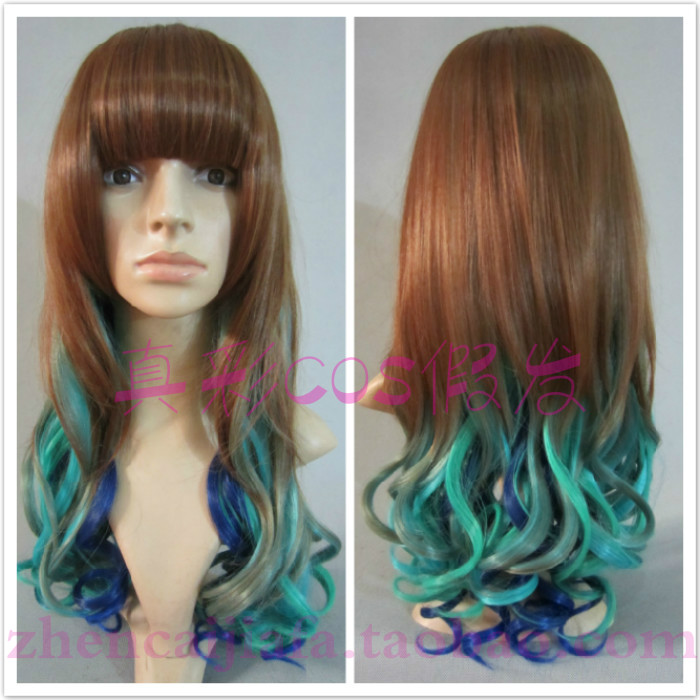 HARAJUKU peacock gradient heat resistant fiber Lolita cosplay wigs - XUANCAI PARTY WIGS store