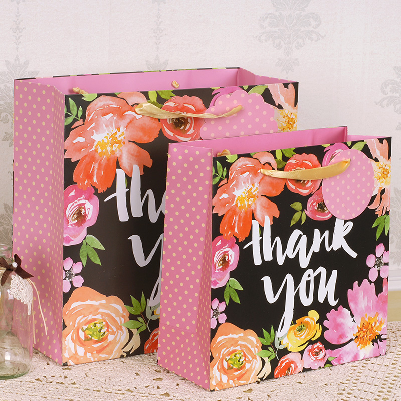 2 size thank you tropical plant paper hand bag with ribbon handle wedding party gift packaging candy hold(China (Mainland))