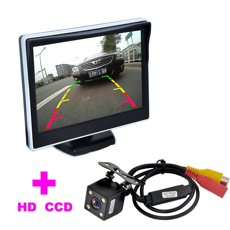"2 in 1 Auto Parking Assistance System 5"" TFT LCD Car Monitor+4LED Car Rearview Camera HD 170 Angle monitor car backup camera(China (Mainland))"