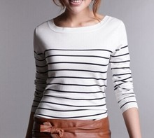 Hot Sale Women's Knitted Cashmere Sweater Plus Size Stripe Wlack White  Woman Winter Clothes Pullover Base Shirt(China (Mainland))