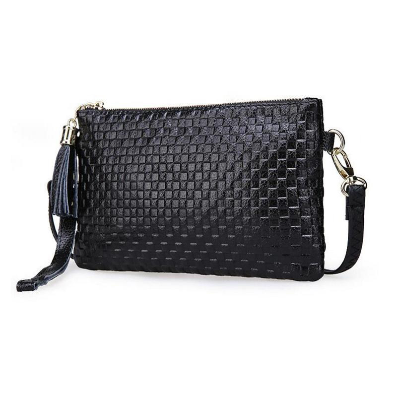 2016 genuine leather Women messenger bags small tassel plaid embossed clutches Shoulder clutch Bags fashion handbags coin purse(China (Mainland))