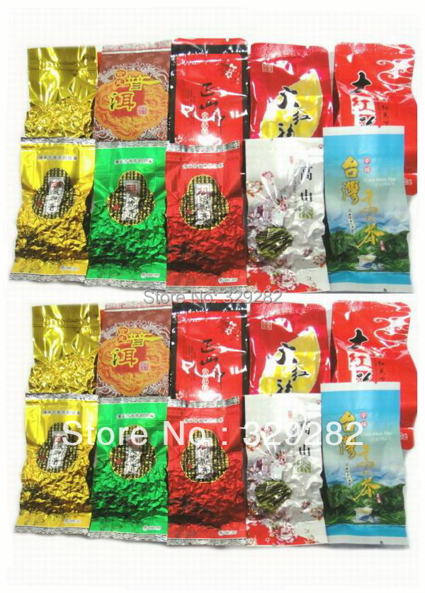 20pcs 10 Different Flavors Oolong Tea Milk oolong tea Ginseng oolong TiKuanYin DaHongPao Puer tea Free