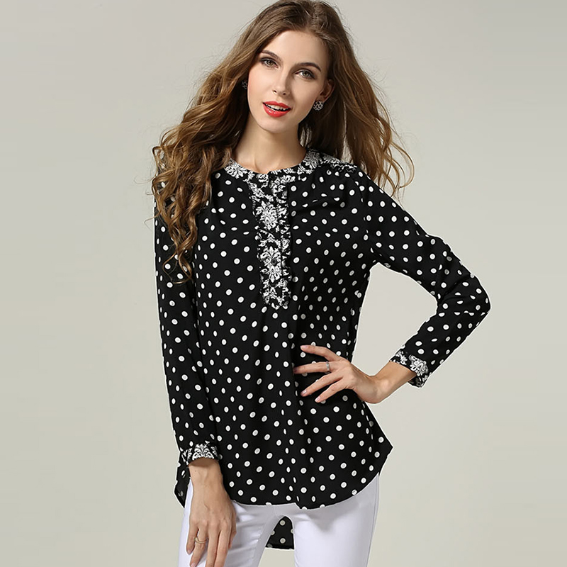 Women polka dot blouse vintage floral pattern print long for Long sleeve shirt pattern