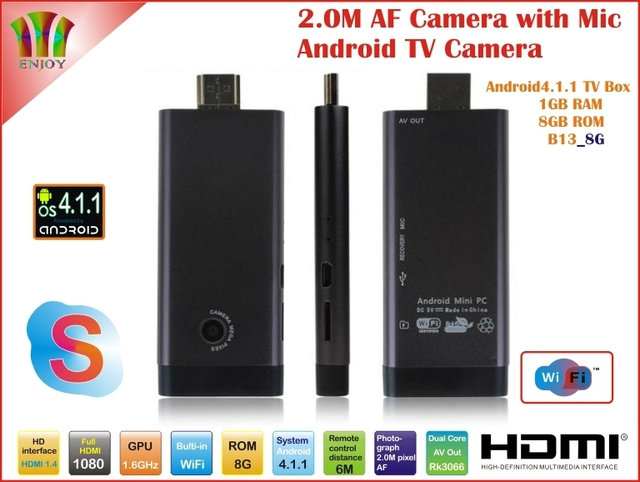 New! 2.0MP Camera and Mic Android 4.1.1 B13 TV Box Rk3066 Dual Core WiFi Antenna 1GB/8GB Skype AV Output Free Shipping