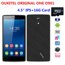 OUKITEL ORIGINAL ONE O901 Android4.4 KitKat Unlocked Phone MTK6582 Quad Core 512MBRAM 4GB ROM 3G WCDMA Smartphone 4.5″+16GB Card