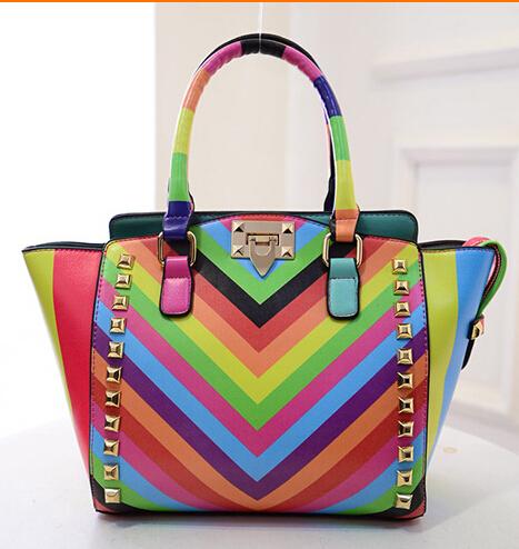 2015 New Arrival Summer Fashion Rainbow PU Leather Women Handbags Shoulder Bag Rivet Bag Valentined for Women B158(China (Mainland))
