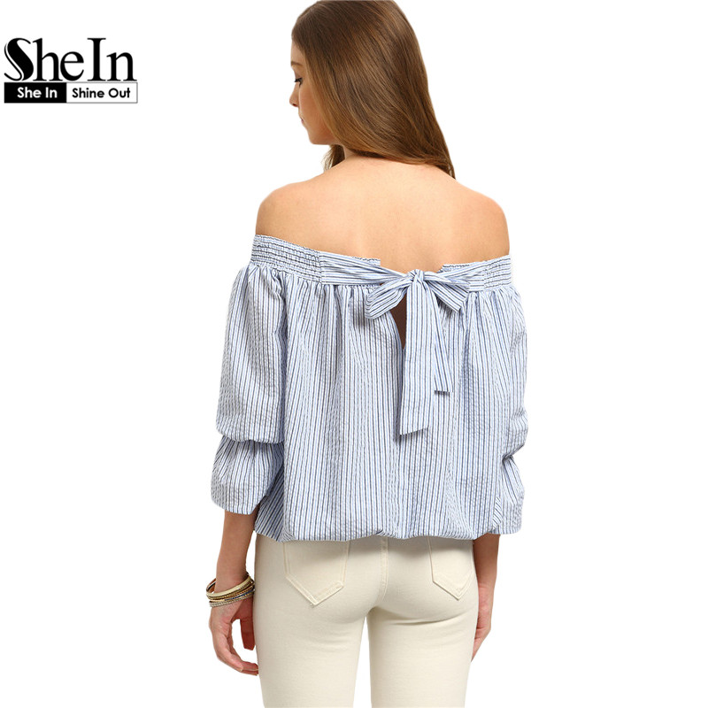 SheIn Woman Summer Tops Fashion 2016 Multicolor Striped Three Quarter Length Sleeve Off The Shoulder Bow Tie Cute Blouse(China (Mainland))