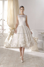 Luxury Off the Shoulder Short White Lace Wedding Gowns Back Buttons Knee Length Bridal Gowns 2015 Plus Size Wedding Dresses(China (Mainland))