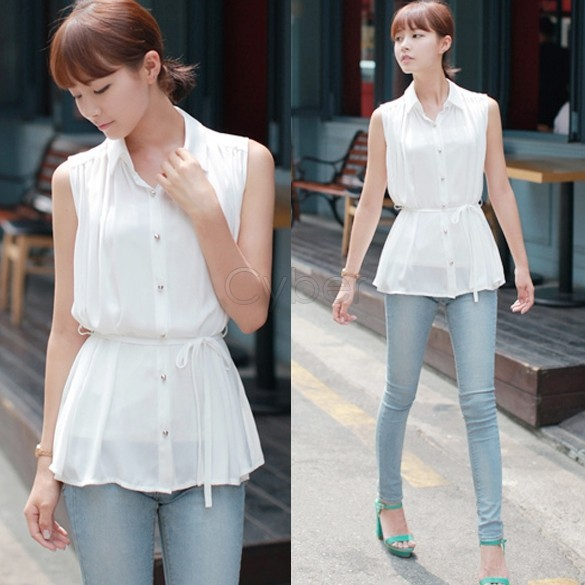 New Fashion Korean Chiffon Sleeveless Casual Blouse Shirt Top For Women  B16