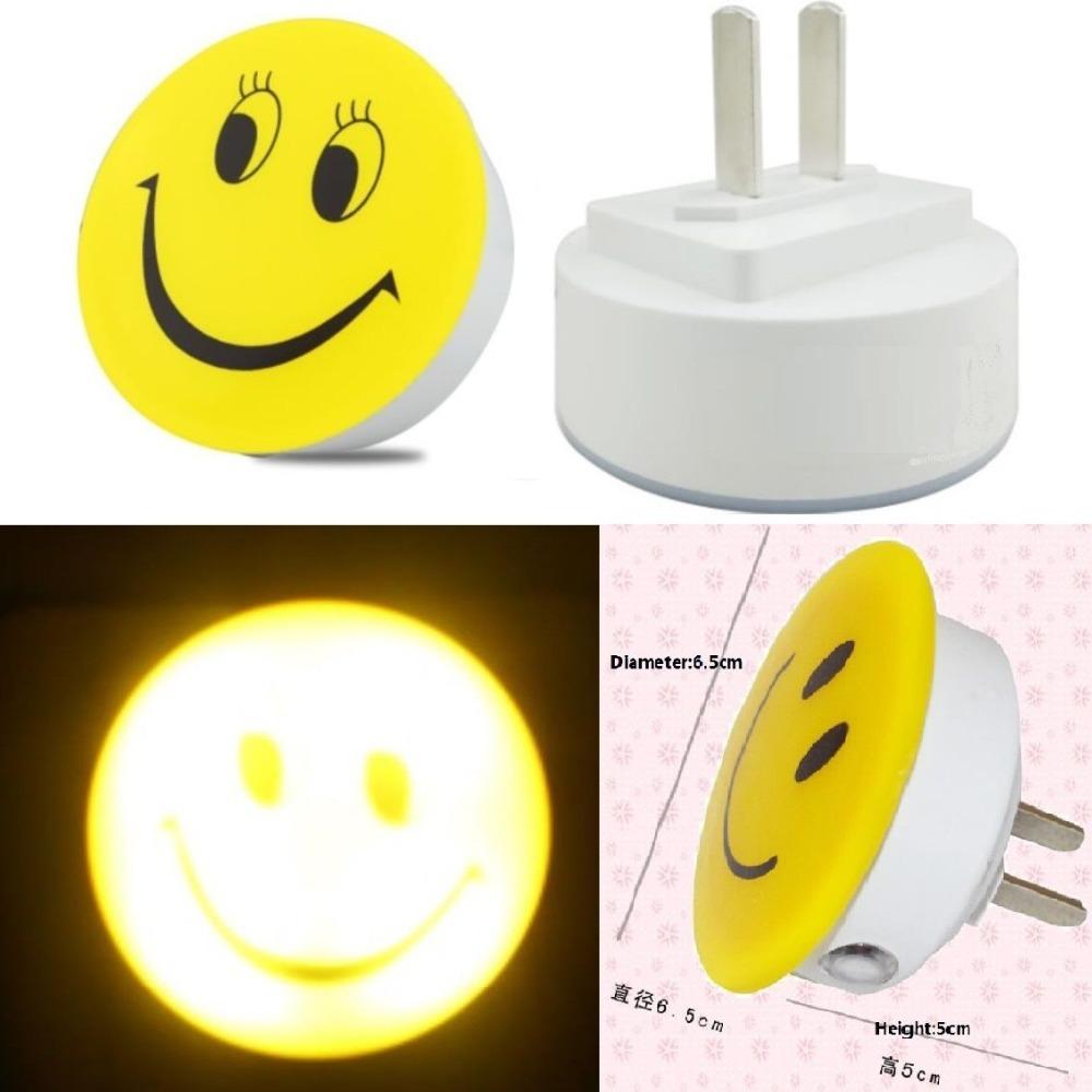 Mini Smiley Smiling Fase LED Photoreceptor Light Sensor Night Lights Sleeping Bedroom Bedside Babyroom Night Light Lamp Lamps(China (Mainland))