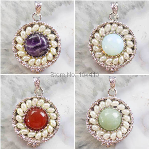 New Fashion Mixed Materials Wrapped Opal Aventurine Rose Quartz Amethyst Red Agate Pearl Circle Pendant Bead Wholesale(China (Mainland))
