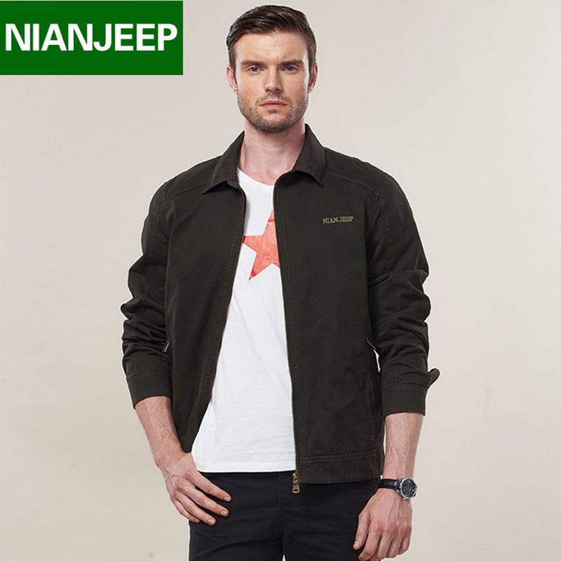 Big size M - 4XL 2016 European men NIAN JEEP casual brand 100% cotton army green jacket coat man spring khaki jackets casaco(China (Mainland))