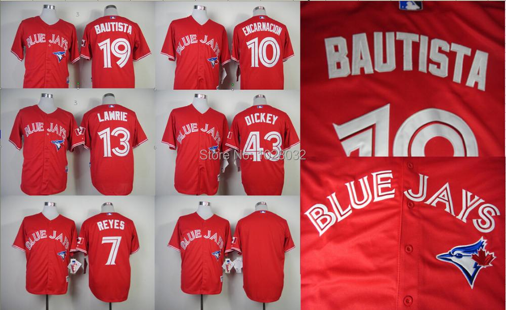 Cheap Toronto Blue Jays Jersey Red #10 Edwin Encarnacion #43 R.A. Dickey #13 Brett Lawrie #19 Jose Bautista #7 Jose Reyes Jersey(China (Mainland))