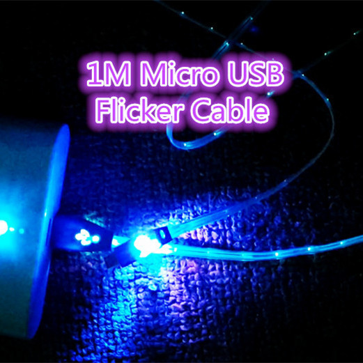 1M Micro USB Flicker Cable For Samsung/LG/HTC/Sony Ericsson 20pcs/lot(China (Mainland))