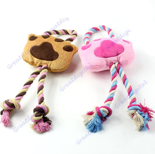 1 pc Funny Dog Puppy Pet Practice Squeaker Plush Braided Rope Bear Paw Play Toy(China (Mainland))
