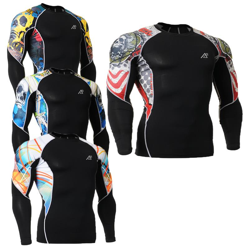 Fashion Men 3D Printing Long Sleeves Compression Shirt Skin Tight Gear Shirts BodyBuilding Fitness Jersry Tops Ropa Gusto C2L - ZEOINU store
