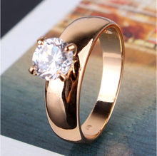 Fashion women's Titanium Rings 18K gold  filled large cz diamond wedding ring 6mm Wide U.S Size 7-13