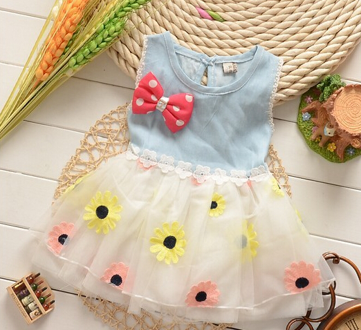 2015 Summer Style! Baby Girls Dot Mesh dress Baby Cute Vest Costume baby girl Cowboy Hollow dress Free shipping(China (Mainland))