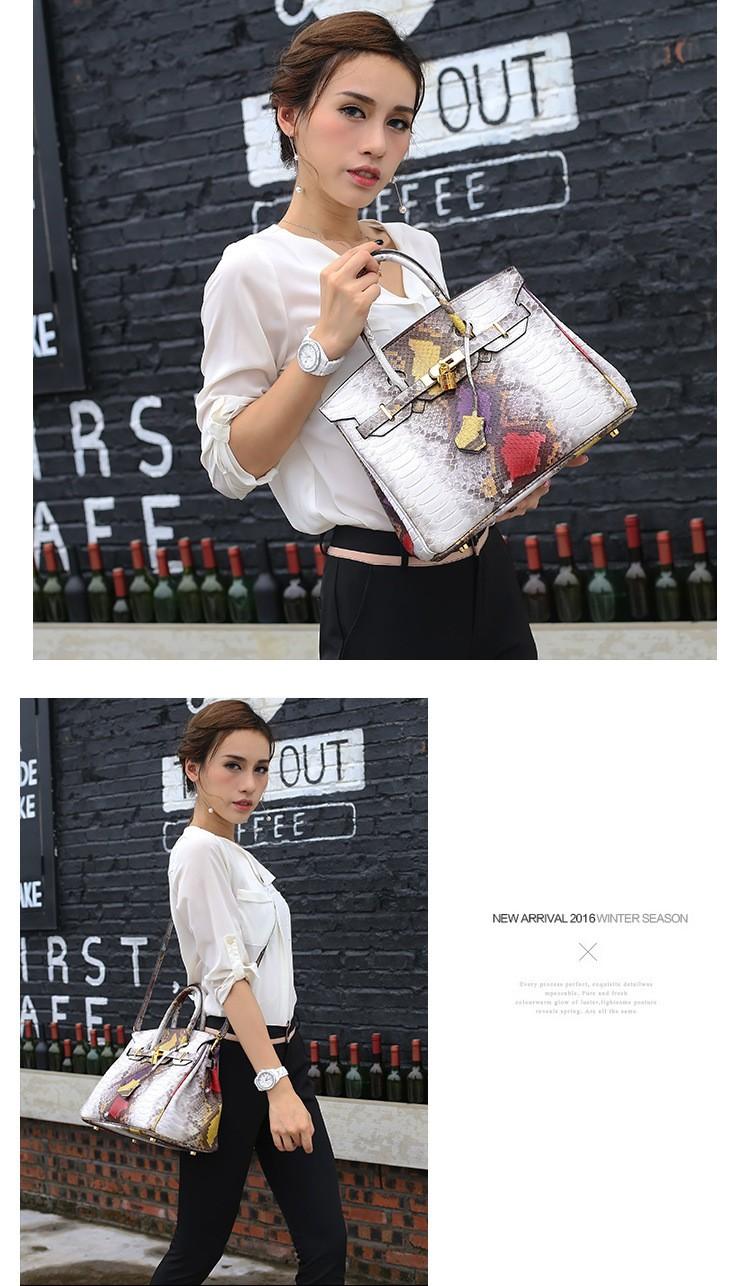 Women Genuine leather Handbag women bag Serpentine shoulder bag for girl Messenger Shoulder Bag women Tote Snake Crossbody bag