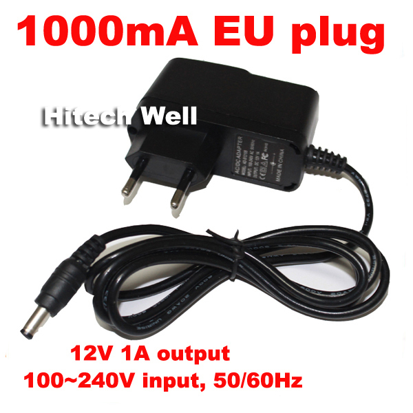 CCTV Accessories,Eurp plug 12V 1000mA DC Out 100~240V AC In 50/60Hz Charger/Power Supply for CCTV Camera