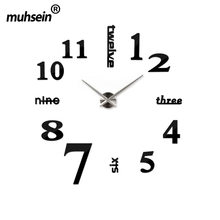 130cm x 130 cm 2016 Super Big DIY Wall Clock Acrylic+EVR+Metal Mirror Super Big Personalized Digital Watches Clocks Freeshipping(China (Mainland))