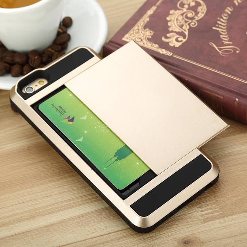"Anti Knock Slider Card Phone Case Cover Fundas Coque for Iphone6 4.7"" Credit Card ID Card Storage Case(China (Mainland))"