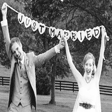 Just Married Garland Wedding Banner Car Bunting Western Venue Party Decor Sign 2017 New Wedding Event Party Supplies Photo booth(China (Mainland))