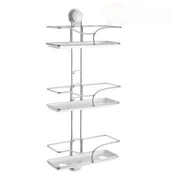 bathroom shelf  Stainless Steel ladder shelf strong suction cup rod three layer bath towel rack shelf freeshipping