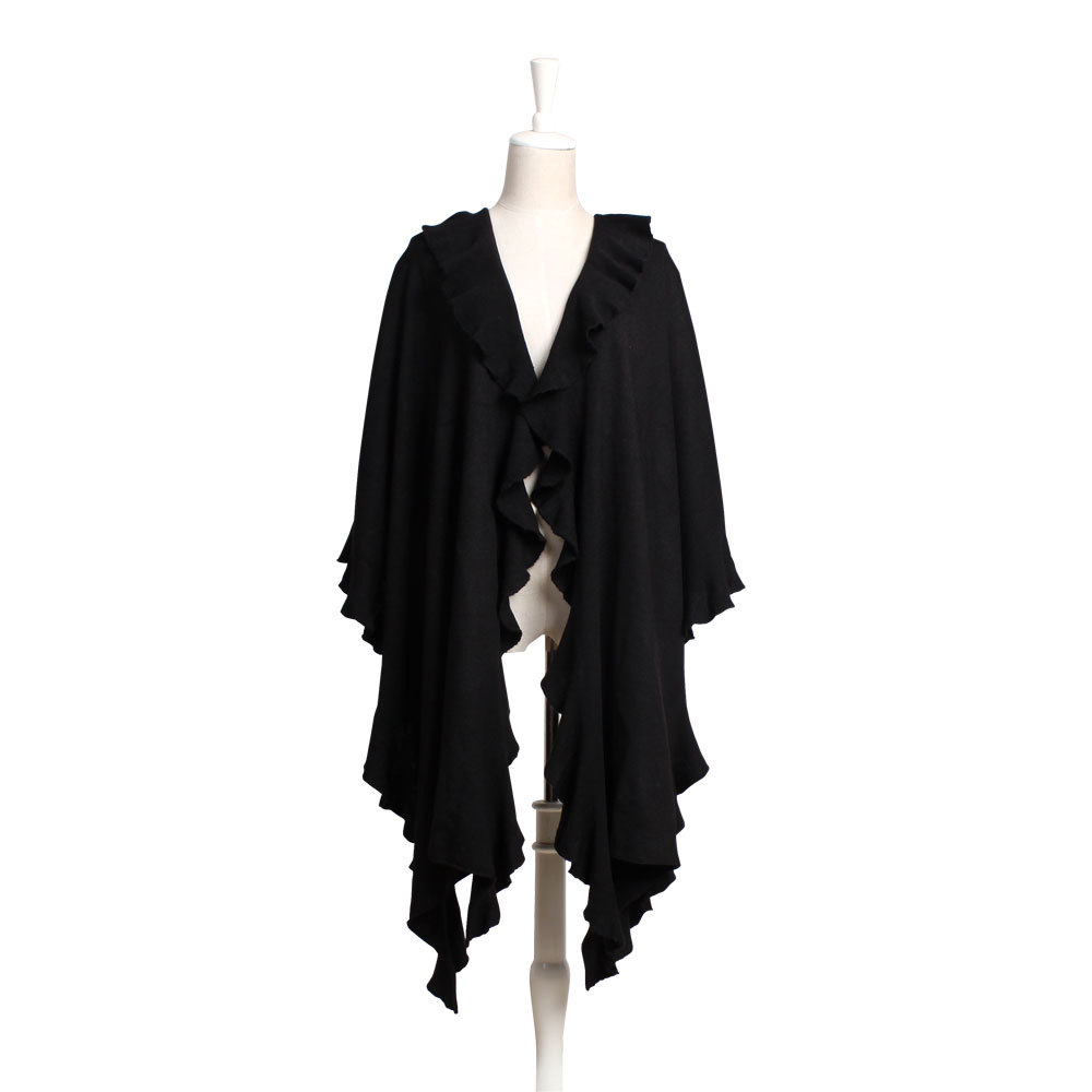 Elegant large cape ruffle hem women's solid color formal dress - Wenling Xianzi Hats & Garments Craft Factory store