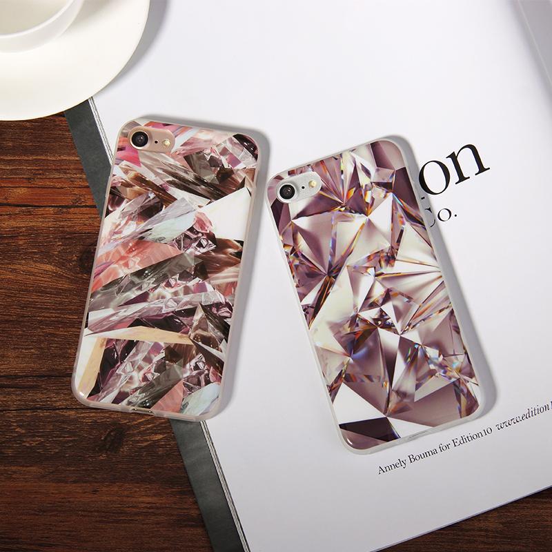 Fashion Colorful Diamond Bling Rainbow Starry sky Milky way Print Case Fundas iPhone 7 7Plus 6 6s Plus 5 5s SE Funda Cover