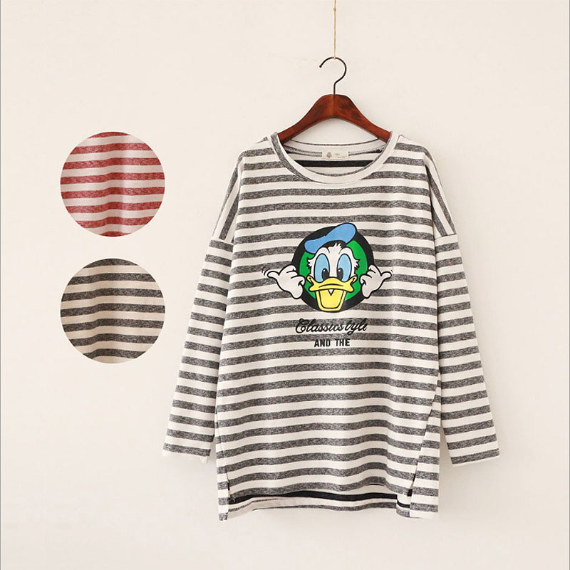 Fashion Women Cotton Stripe Cartoon Donald Duck Printing Casual Blusa Long-Sleeved Loose T-shirt(China (Mainland))