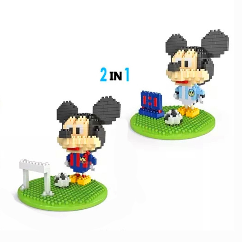 Soccer Mickey Mouse Model Action Figures DIY Building Blocks Classic Cartoon Anime Toys Gift For Children Mini Assembled Bricks(China (Mainland))