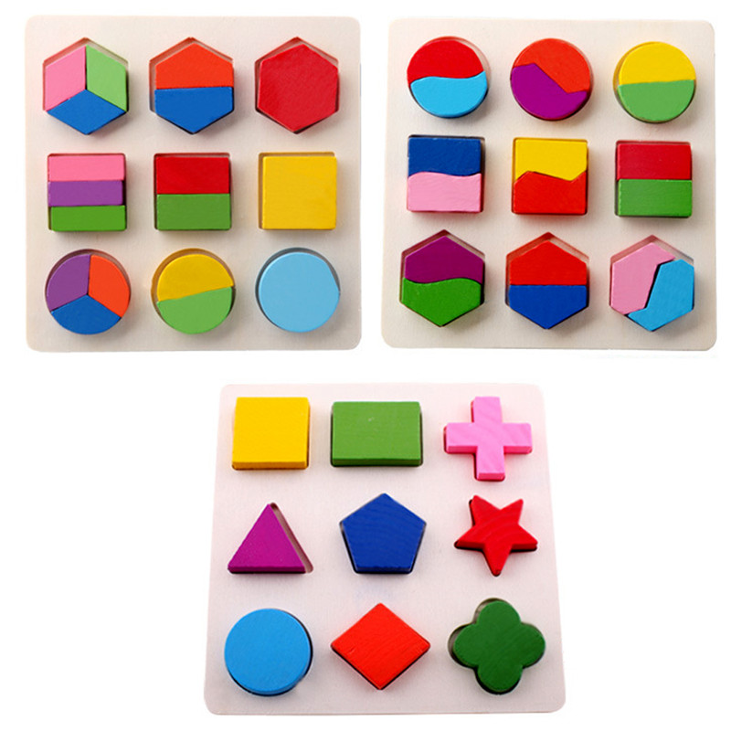 Kids Baby Wooden Learning Geometry Educational Toys Puzzle Montessori Early Learning Free  Shipping<br><br>Aliexpress
