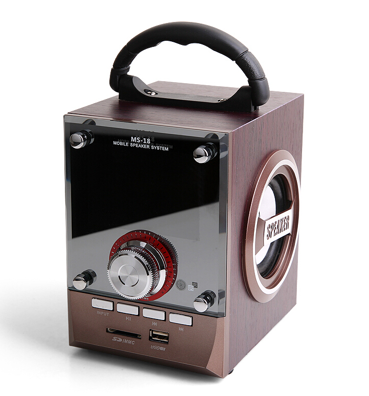 Card wood speakers remote control, sound box home theater support FM Radio TF card U disk portable loud speaker