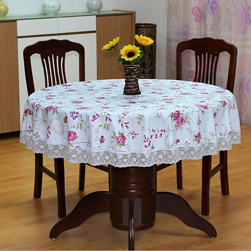 PVC Pastoral round table cloth waterproof Oilproof non wash plastic pad plus velvet anti hot coffee tablecloth(China (Mainland))