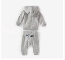 2014 New Autumn Baby Boys Cotton Clothing Set Child Boy Cartoon Hooded Sweater Solid Color Animal