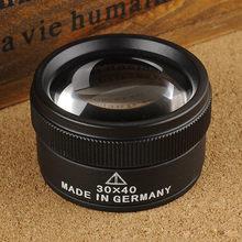 30 x 40 mm vidrio óptico lentes recubiertas, doble lente, cai, joyería, metal, leer