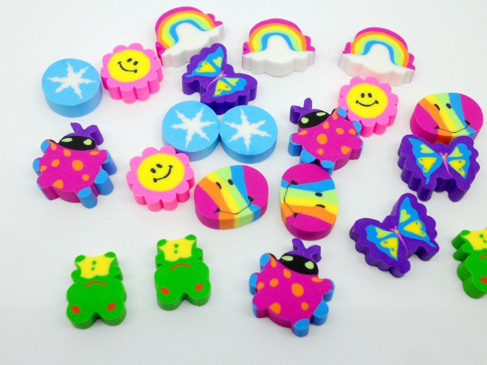 MIX 4 office supplies school Cartoon anim student smiling face rainbow pencil Erasers Novelty Stationery Christmas Gift - Ming hao city store