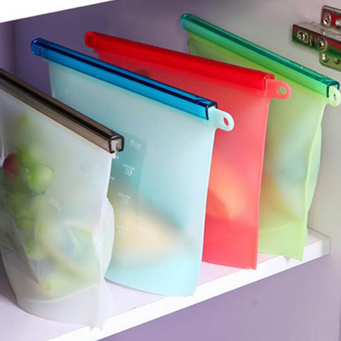 2016 NEW Reusable Vacuum Food Sealer Bags Silicone Food Storage Container Refrigerator Bag Kitchen Colored Ziplock Bags(China (Mainland))