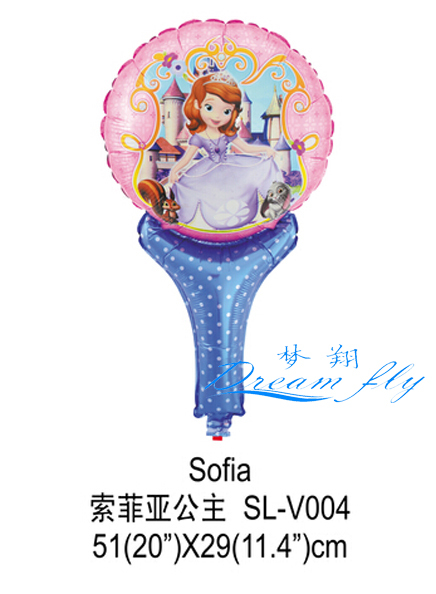 Free shipping Sofia Princess foil balloon cheer stick cartoon head balloon clappers children toy<br><br>Aliexpress