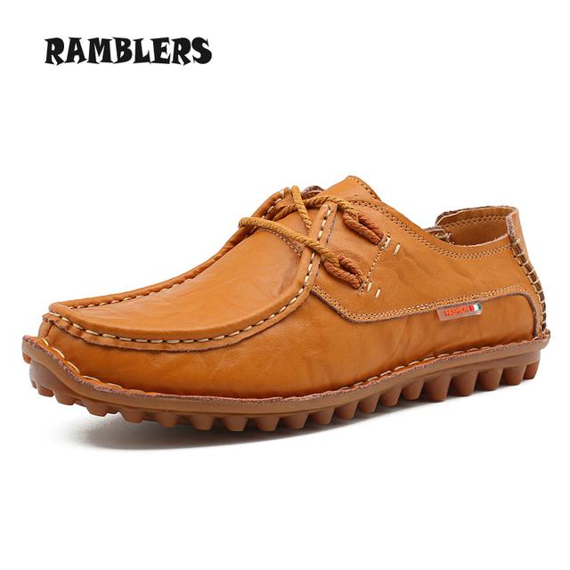 Мужчины в обувь свободного покроя натуральная кожа квартиры коричневый мягкий обувь ...