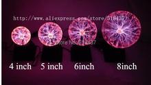 "Free Shipping High-quality Glass Plasma Ball Sphere Lightning Light Lamp Party magical ball electrostatic falshing ball dia4""68(China (Mainland))"