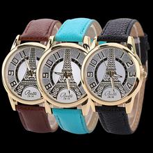 Men ' s mujeres de Vogue Vintage imitación de cuero de cuarzo analógica torre Eiffel reloj de pulsera
