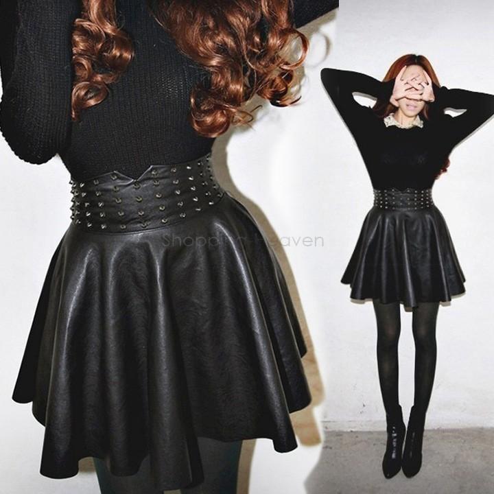 New item Winter Autumn Punk Women's Skirt Sexy Rivet synthetic leather PU Pleated Fashion High Waist Skater Skirt 38(China (Mainland))