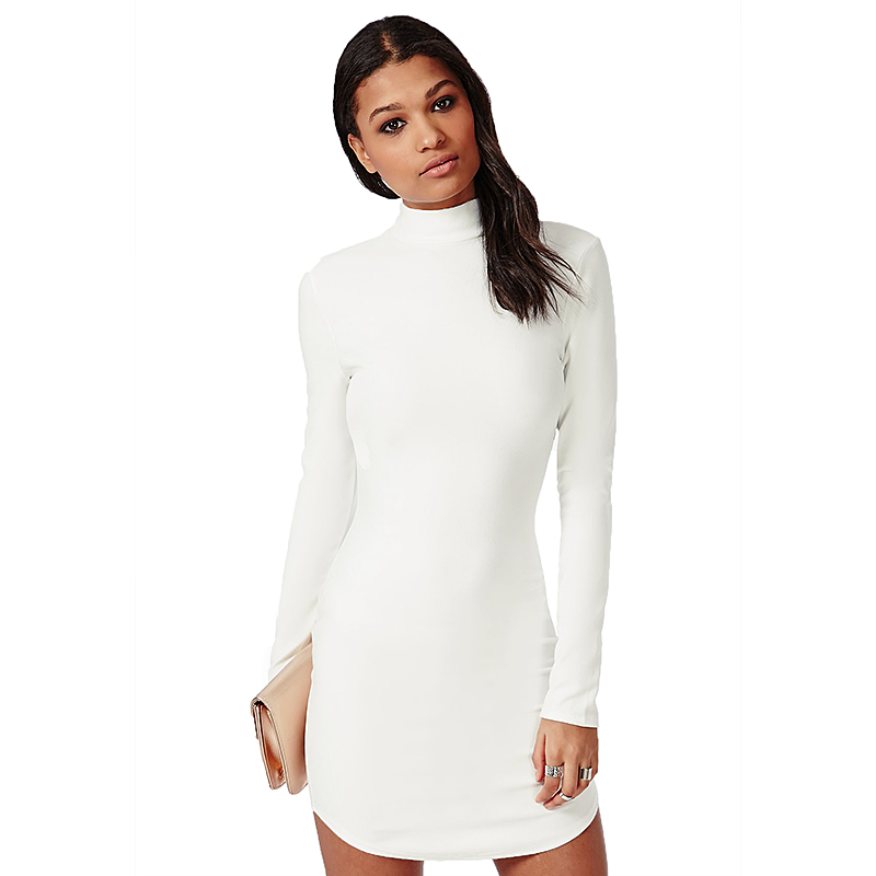 White Turtleneck Dress - Fn Dress