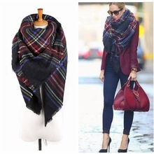 140*140cm Unisex Women Men Warm Blanket Large Oversized Tartan Scarf Wrap Shawl Bufandas Plaid Cozy Checked Pashmina Scarves(China (Mainland))