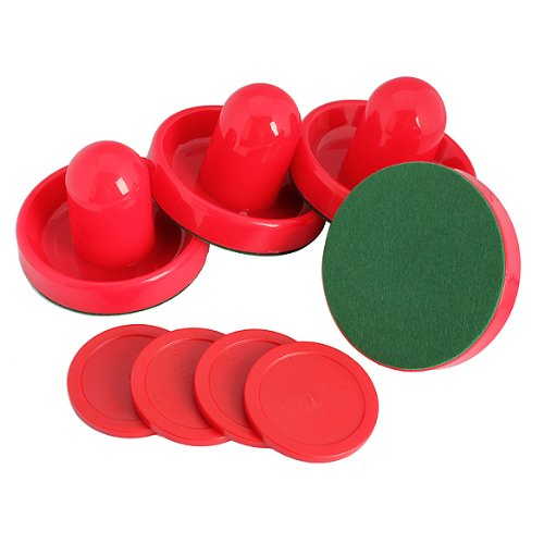 SZ-LGFM-4Pcs Air Hockey Table Goalies with 4pcs Puck Felt Pusher Mallet Grip Color Red(China (Mainland))