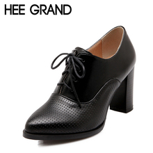 HEE GRAND New High Heels Shoes Woman Solid Cut Out Oxfords Women Lace Up Ankle Boots For Autumn PU Leather Shoes Pumps XWX4086(China (Mainland))